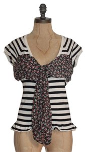 Anthropologie Knit Striped Front Button Moth Stretchy Top MULTI COLOR