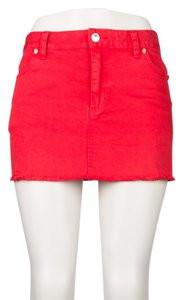 Tory Burch Denim Summer Mini Skirt red