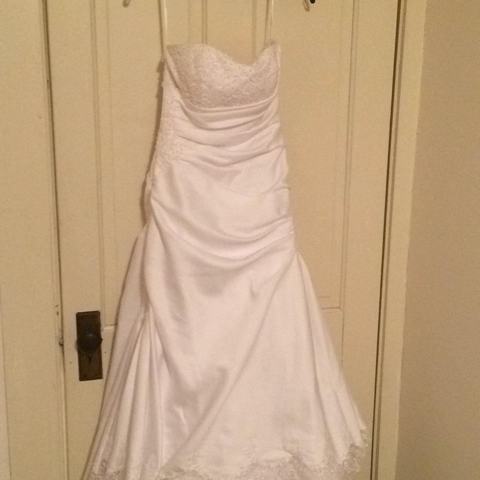 Red And White At David S Bridal Wedding Dress: David's Bridal White Satin/Lace Formal Wedding Dress Size