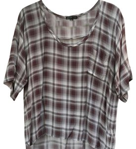 James Perse Short Sleeve Slouchy Top Dove gray and burgundy plaid