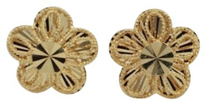Other 18K Solid Yellow Gold Diamond Cut Flower Earrings