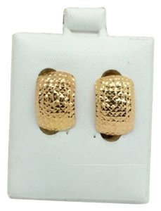 Other 18K Yellow Gold Diamond Cut Clip Earrings