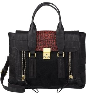 3.1 Phillip Lim Croc Embossing Leather Crossbody Gold Hardware Pony Hair Satchel in Black and red