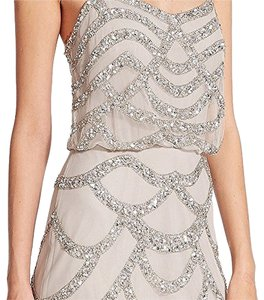 Aidan Mattox Silver Beaded Cocktail Dress