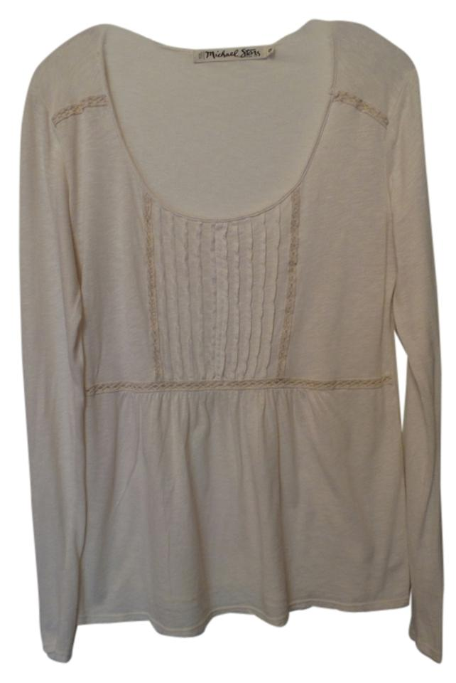 8b0e4bf552128 Anthropologie Off-white Long Pintuck Bodice & Lace Detail Knit One Blouse