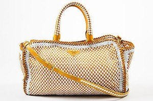 Prada And White Leather Woven Crossbody Made In Madras Tote in Yellow