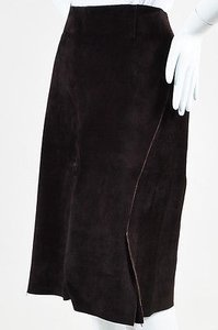 Gucci Dark Suede Skirt Brown