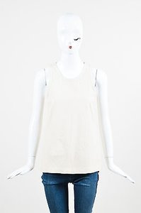 Theory Leather Racer Back Sleeveless Top Cream