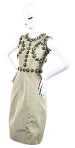 Burberry Khaki Light Olive Antiqued Gold Tone Studded Sleeveless Sheath Dress