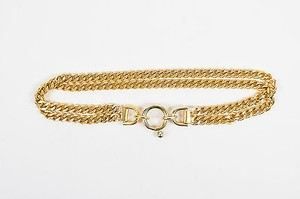 Vintage Gold Tone Double Chain Buckle Belt