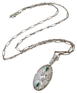 Other Vintage Edwardian 14k White Gold Filigree Diamond Necklace