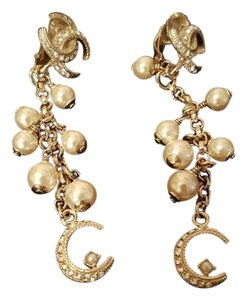 Chanel Chanel Famous Dubai Collection! Pearl Crystal Earrings; Authenticated!