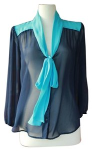 Lily White Retro Secretary Bow Sheer Top Blue