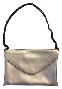 J.Crew Leather Evening Work Silver Clutch