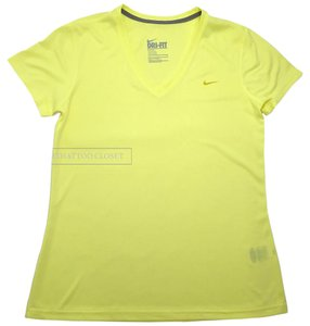 Nike Yellow Dri-Fit Workout V-Neck Large Top