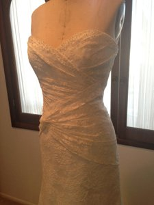 Augusta Jones Cream Ivory Lace Carmel All Sexy Slim Strapless Sweetheart 10/12 Feminine Wedding Dress Size 10 (M)