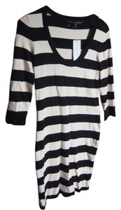 French Connection short dress Black Cream Striped Sweater Sweater Thick on Tradesy