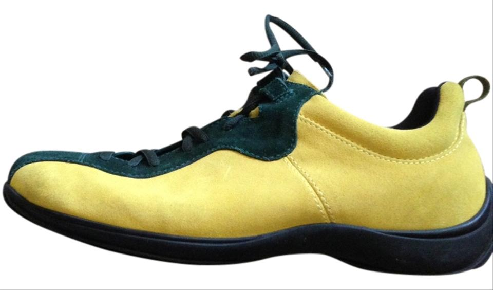 Prada Vintage Collectible Suede Mens 8 1 2 Womens 12 Yellow green Athletic  ... 5137b35757