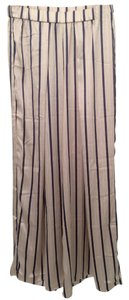 H&M Pinstripes Wide Pleated Wide Leg Pants Beige, white and blue
