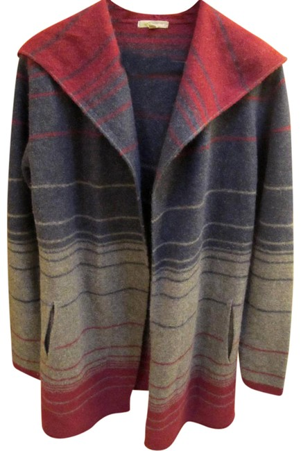 Item - Navy/Charcoal/Burgundy Hooded Tunic Cardigan Size 6 (S)