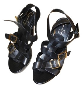 Jessica Simpson New Strappy Buckles Black Sandals
