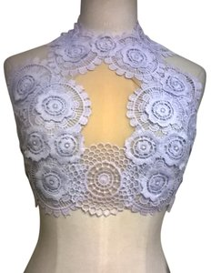 Lisa Nieves Lace Prom Crop Backless Applique Top Light grey