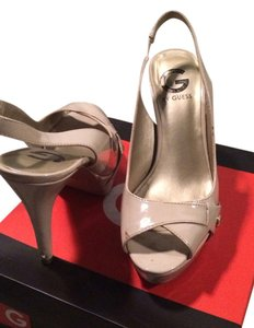 Guess Peep Toe Platform Nude Pumps
