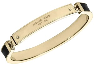 Michael Kors Logo Plaque Bangle Bracelet Gold Tone Black Enamel MKJ3839710