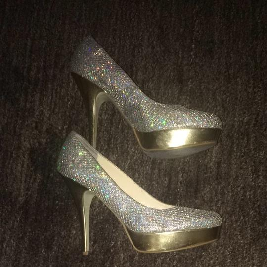 Enzo Angiolini Gold With Silver Glitter Pumps