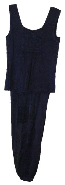 MAGIC PANTSUIT M NWT BY MAGIC RAYON DEEP PURPLE SHADED EMBROIDERY BUTTON AT HEM