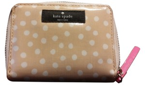 Kate Spade Kate Spade Beige & White Polka Dots Patent Leather Zip Around Wallet