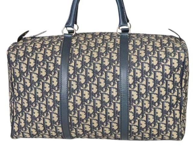 Item - Christian Trotter Canvas / Beige/ Navy Fabric/S / Leather Weekend/Travel Bag