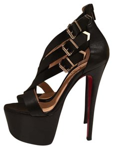 Christian Louboutin Leather Luxury Party Sandal Black Platforms