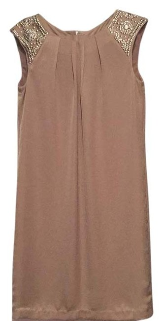Item - Beige with Silver Detail Knee Length Night Out Dress Size 6 (S)