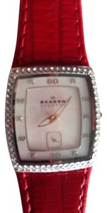 Skagen Denmark Red leather watch with MOP face