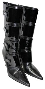 Jimmy Choo Boot Patent Pointed Toe Black Boots
