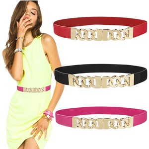 Other Stunning High Fashion Runway Gold Chain Designer Inspired Belt in Pink