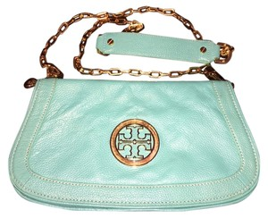 Tory Burch Clutch Leather Pebbled Logo Reva Cross Body Bag