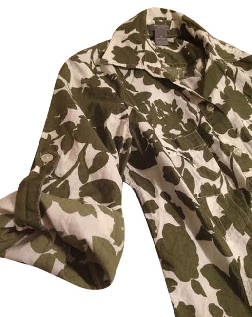 Ann Taylor Petite Button Down Shirt Olive green floral