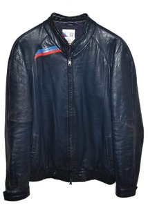 BMW Cafe Racer Leather Blue Leather Jacket