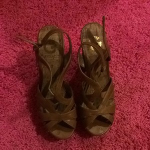 Guess Cork Tan Summer Brown Wedges