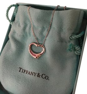 Tiffany & Co. Tiffany & Co. Elsa Peretti Pink Sapphire Open Heart Necklace