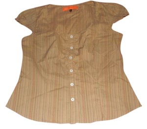 Cynthia Steffe Pinstripe Shirt Summer Button Down Shirt Tan