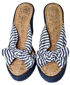 Juicy Couture Sandal Wedge Open Toe Blue|White Sandals