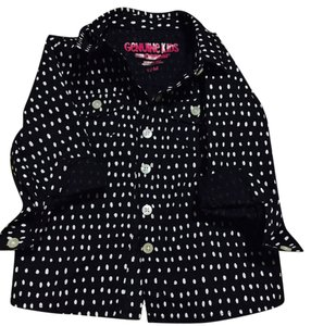 OshKosh B'gosh Button Down Shirt Black// polka dots