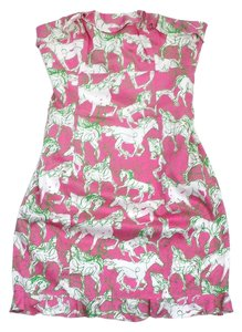 Lilly Pulitzer short dress Horse Print Cotton Strapless on Tradesy