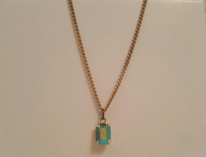Vintage Emerald Cut Aurora Borealis Baby Necklace Vintage Emerald Cut Aurora Borealis Baby Necklace