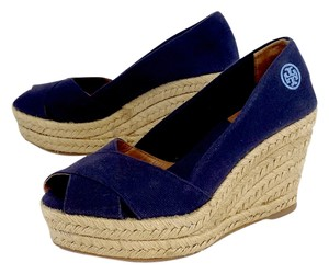 Tory Burch Navy Espadrille Wedges
