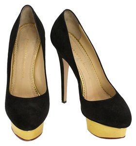 Charlotte Olympia Dolly Gold Pump Black Pumps