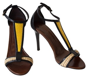 Burberry Sandal T-strap Heel Black / Yellow / Brown Sandals